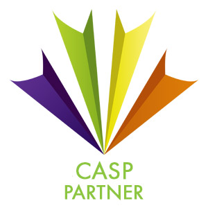 "CASP Logo - purple, green, yellow and orange rays, with ""partner"" below"