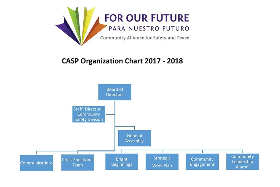 CASP Orginization Chart from Board of Directors to Community Partnerships