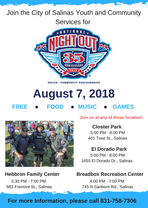 Join us on August 7, 2018 for our annual National Night Out