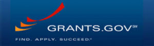 Grants.gov logo, blue field with one red and two orange swoosh marks