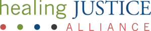 Healing Justice Alliance logo, colored fonts and four colored dots