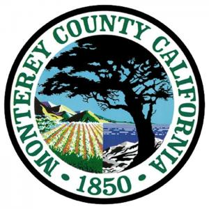 Monterey County CA logo, cypress tree, filed, ocean view