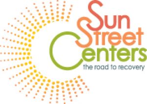 Sun Street Center logo, sun graphic and name of group