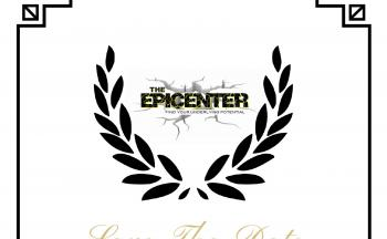Epicenter logo between two laurel branches, Save the Date