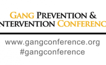logo for Gang Intervention and Prevention Conference, black and gold lettering