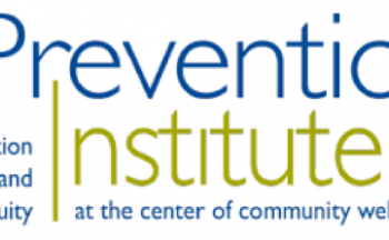 Logo for Prevention Institute, type in blue and green